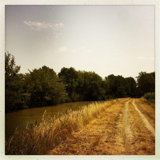 chemin de halage après le pont de puichéric canal du midi